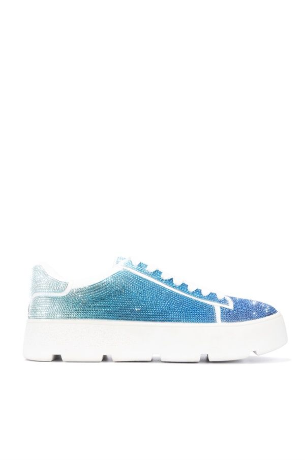 Cape Robbin Euro Blue Ombre Lace up Rhinestone Sneakers
