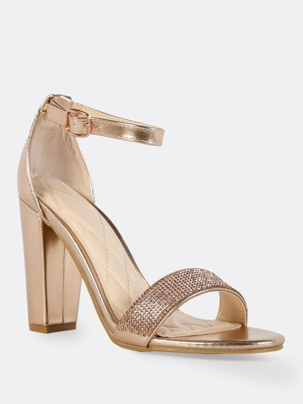 Bamboo Frenzy-54s Rose Gold Open Toe Block Heel w/ Ankle Strap