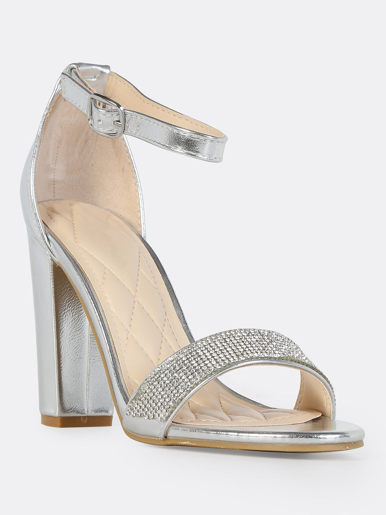 20f4f989354 Bamboo Frenzy-54s Silver Open Toe Block Heel w  Ankle Strap – Manic ...