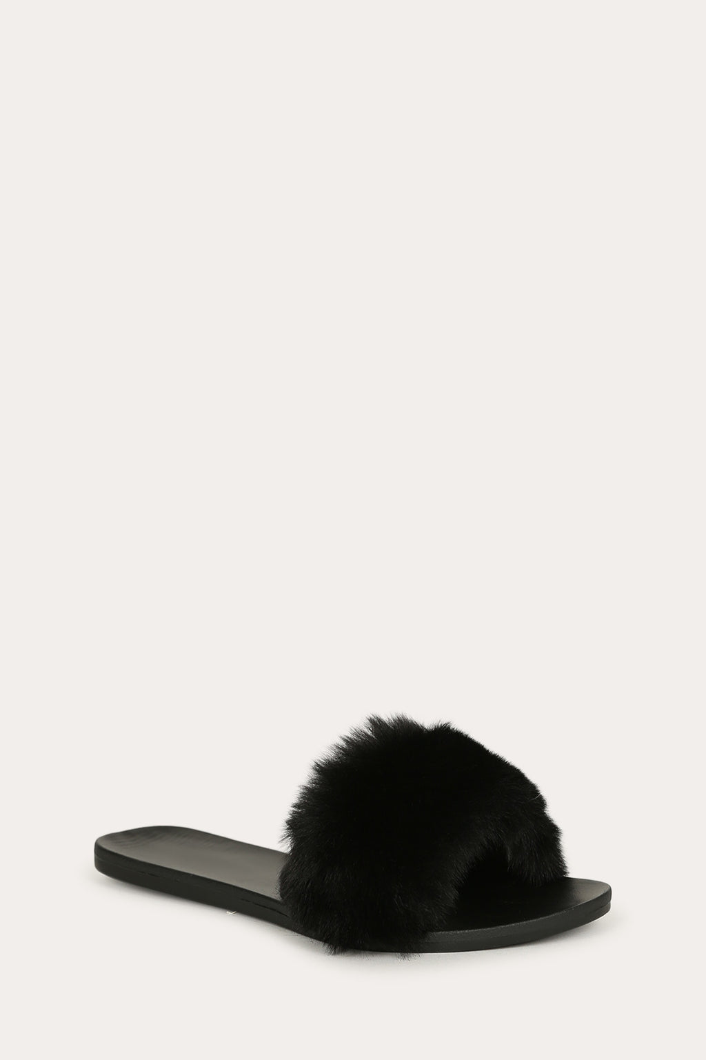 Bamboo Fullmoon-14 Black Fur Slide