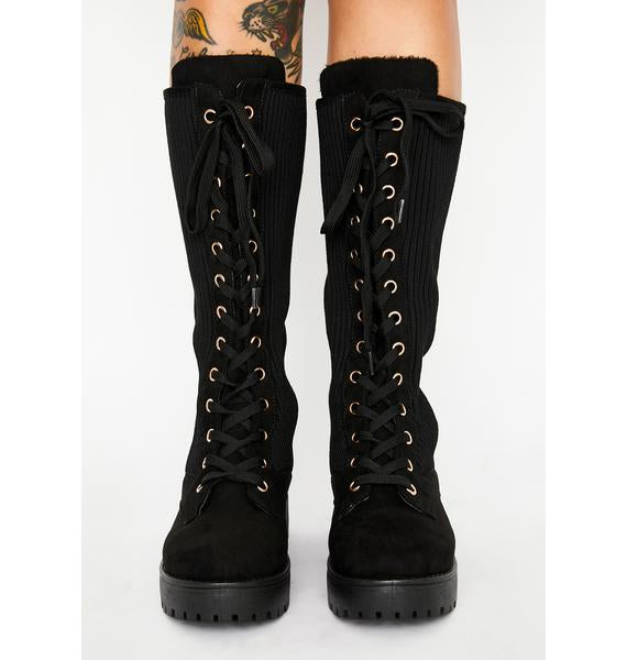 Bamboo Wildone-20 Lace Up Combat Boot With Side Knit Panel
