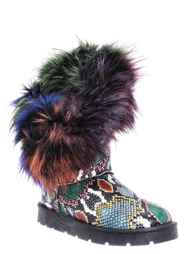 Bamboo Frozen-01 Multi Snake Round Toe Asymmetrical Fur Boots