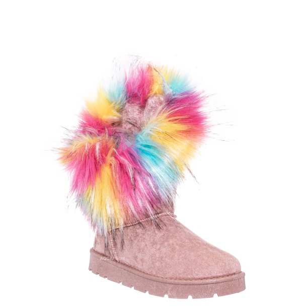 Bamboo Frozen-01 Pink Round Toe Asymmetrical Fur Boots
