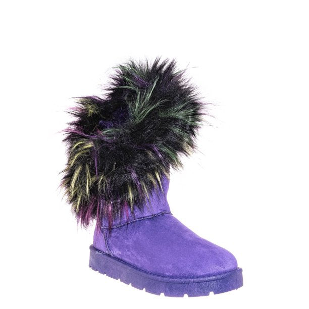 Bamboo Frozen-01 Purple Round Toe Asymmetrical Fur Boots