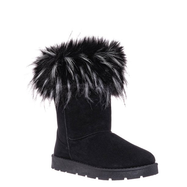 Bamboo Frozen-02 Black Fur Lined Boots