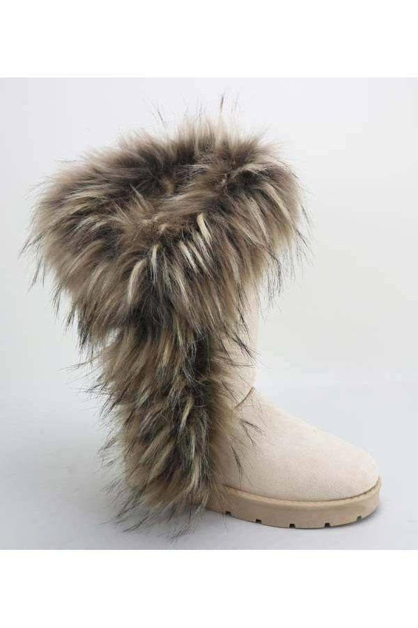 Bamboo Frozen-11 Ivory Asymmetrical Fur Boot