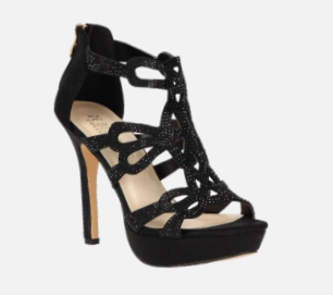 De Blossom Gap-32 Black Strappy Open Toe Platform Heel