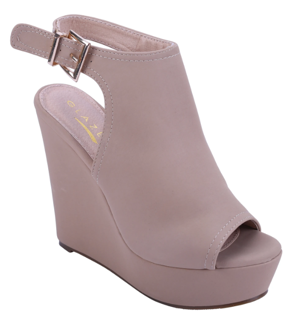 Glaze Bao-1 Nude Open Toe Ankle Strap Wedge