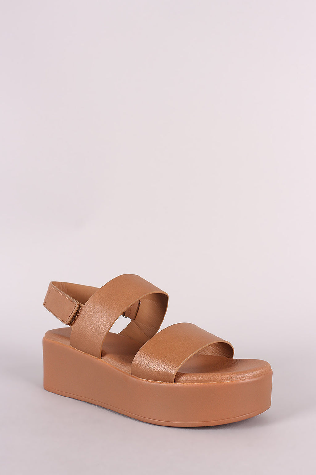 Bamboo Bonus-01m Tan Double Band Open Toe Slingback Flatform Wedge