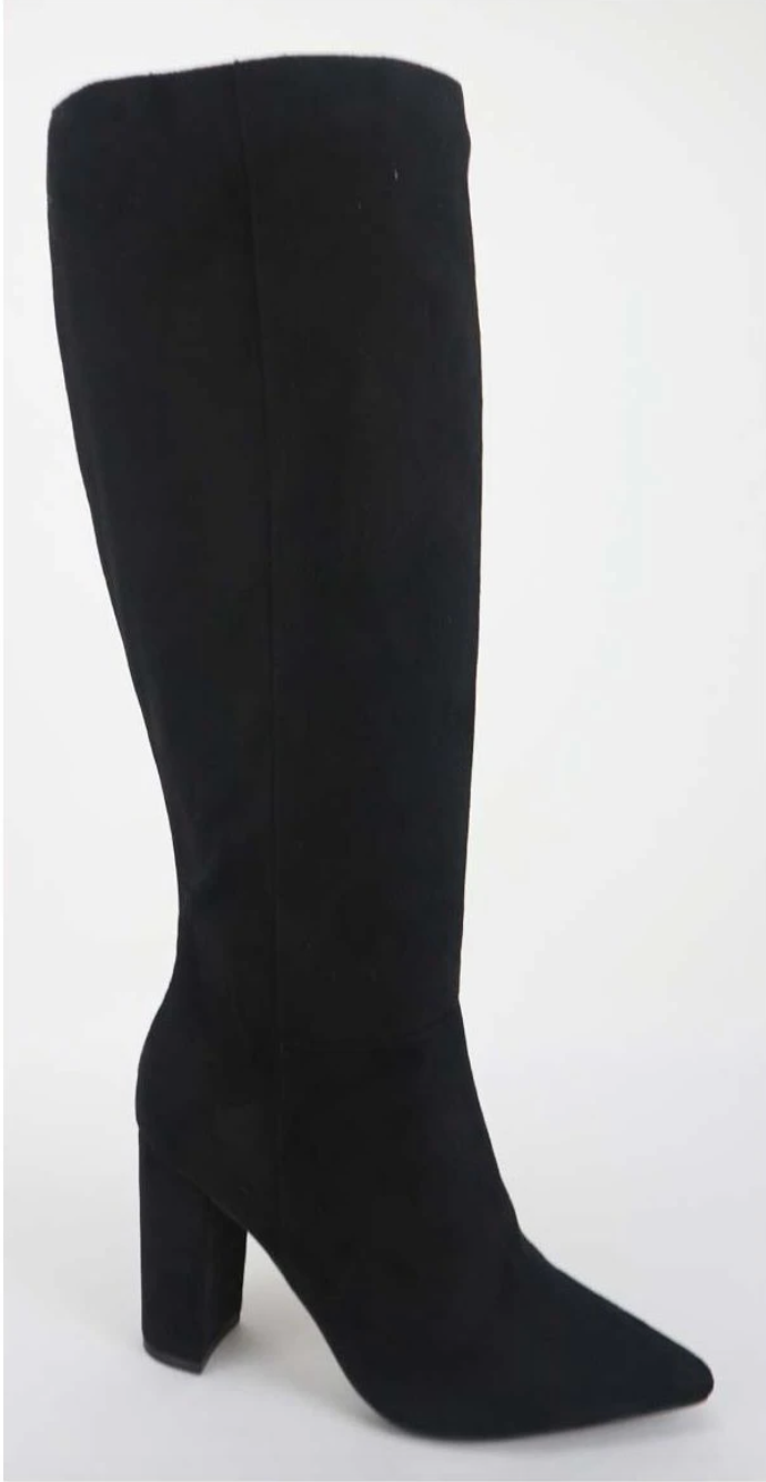 Bellflower-41 Black Faux Suede Chunky Heel Mid Calf Boots