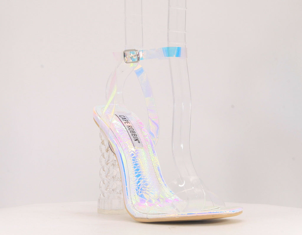 Cape Robbin Dimmy Holographical Clear Heel w/ Clear Strap