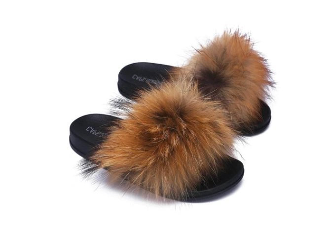 Cape Robbin Flurry Tan Fur Sandals
