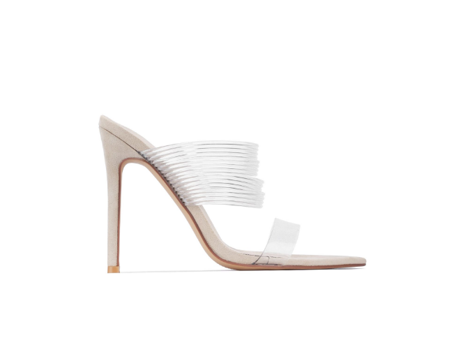 Cape Robbin Hess Nude Two Clear Strap Open Toe Heel