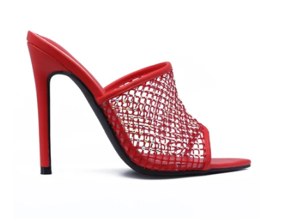 Cape Robbin Manic Red Pointed Toe Stiletto Embellished Fish Net Heel