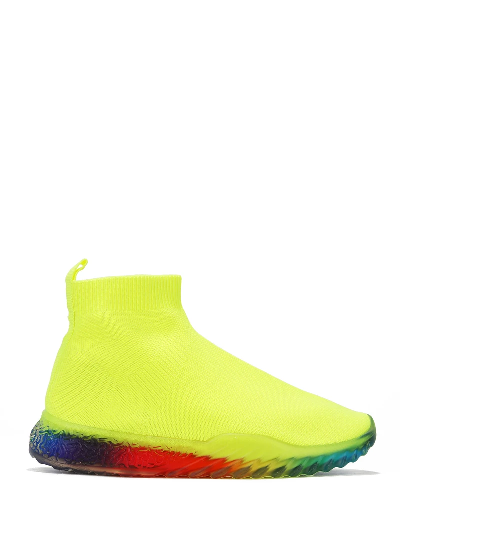 Cape Robbin Swords Lime Knit Slide On Sneaker