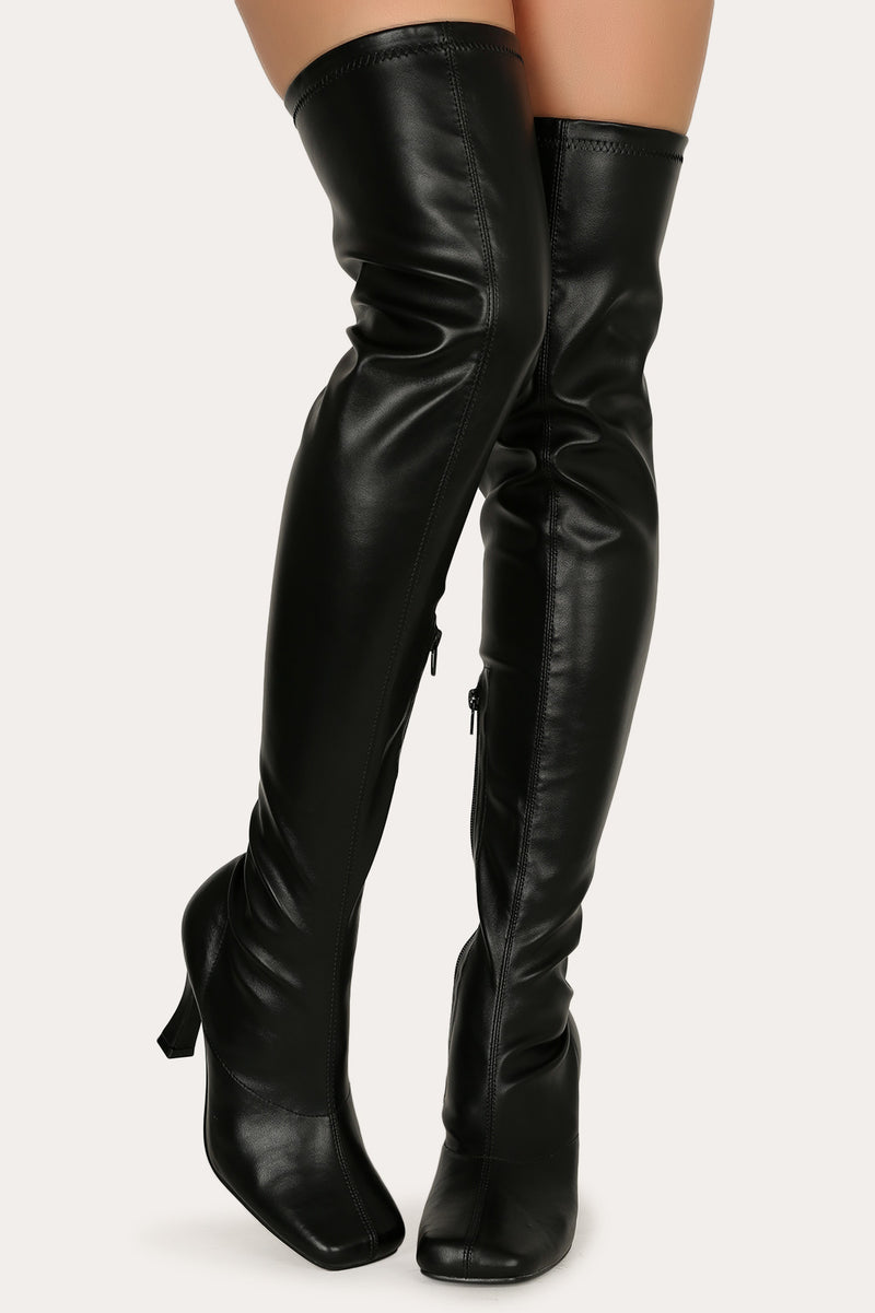 Mixx Shuz Cardi Black Thigh High Leather Round Toe Heeled Boots