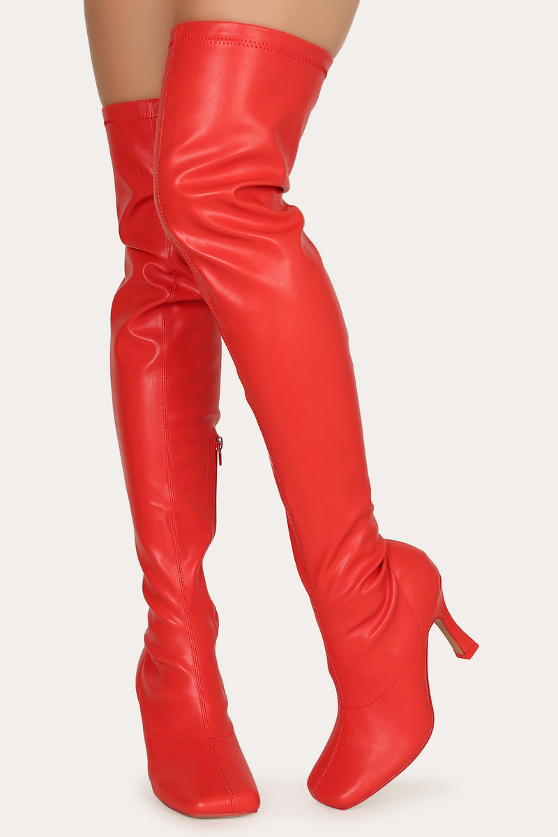 Mixx Shuz Cardi Red Thigh High Leather Round Toe Heeled Boots