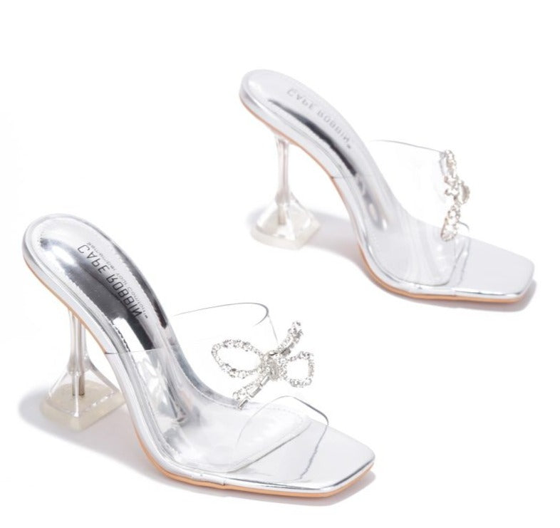 Cape Robbin Bad Guy Silver Slip On Clear Heel with Crystal Bow