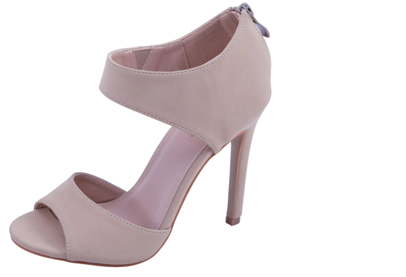 Glaze Charlie-169 Nude Open Toe Heel With Ankle Strap