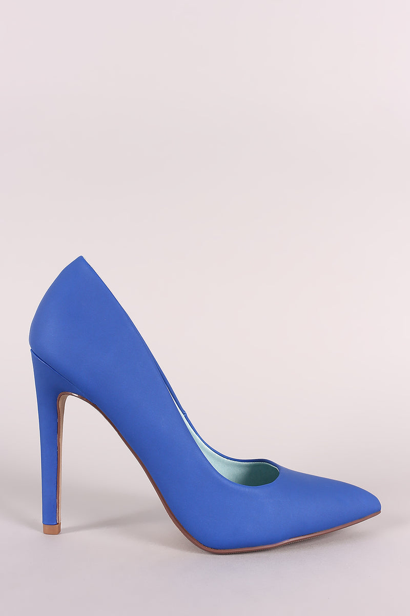 Delicious Cindy-s Cobalt Blue Pointy Toe Stiletto Heel