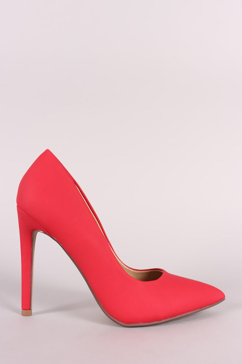 Delicious Cindy-s Red Pu Pointy Toe Stiletto Heel