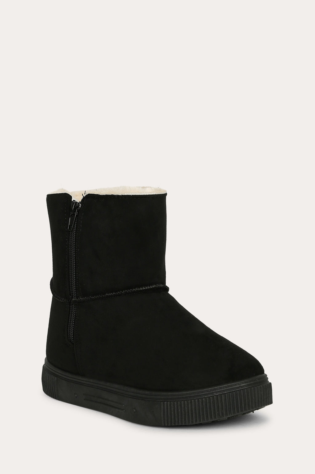 Bamboo Cozette-04 Black Short Boot with Fur Inside
