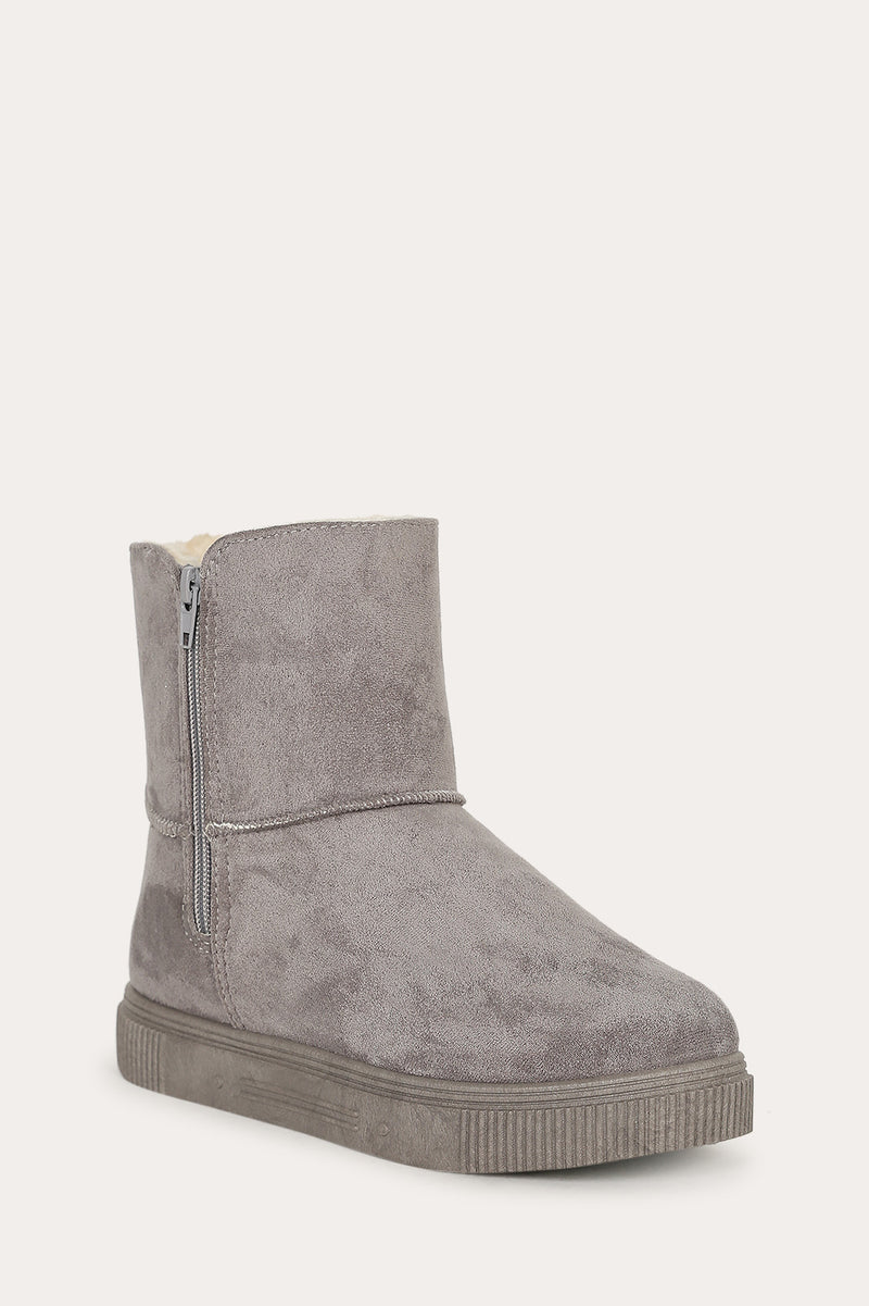 Bamboo Cozette-04 Grey Short Boot with Fur Inside