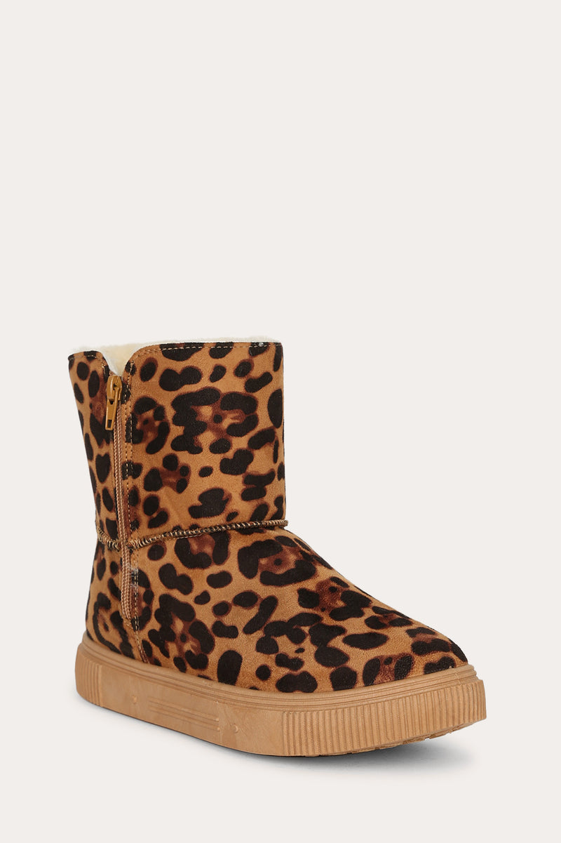 Bamboo Cozette-04 Leopard Short Boot with Fur Inside