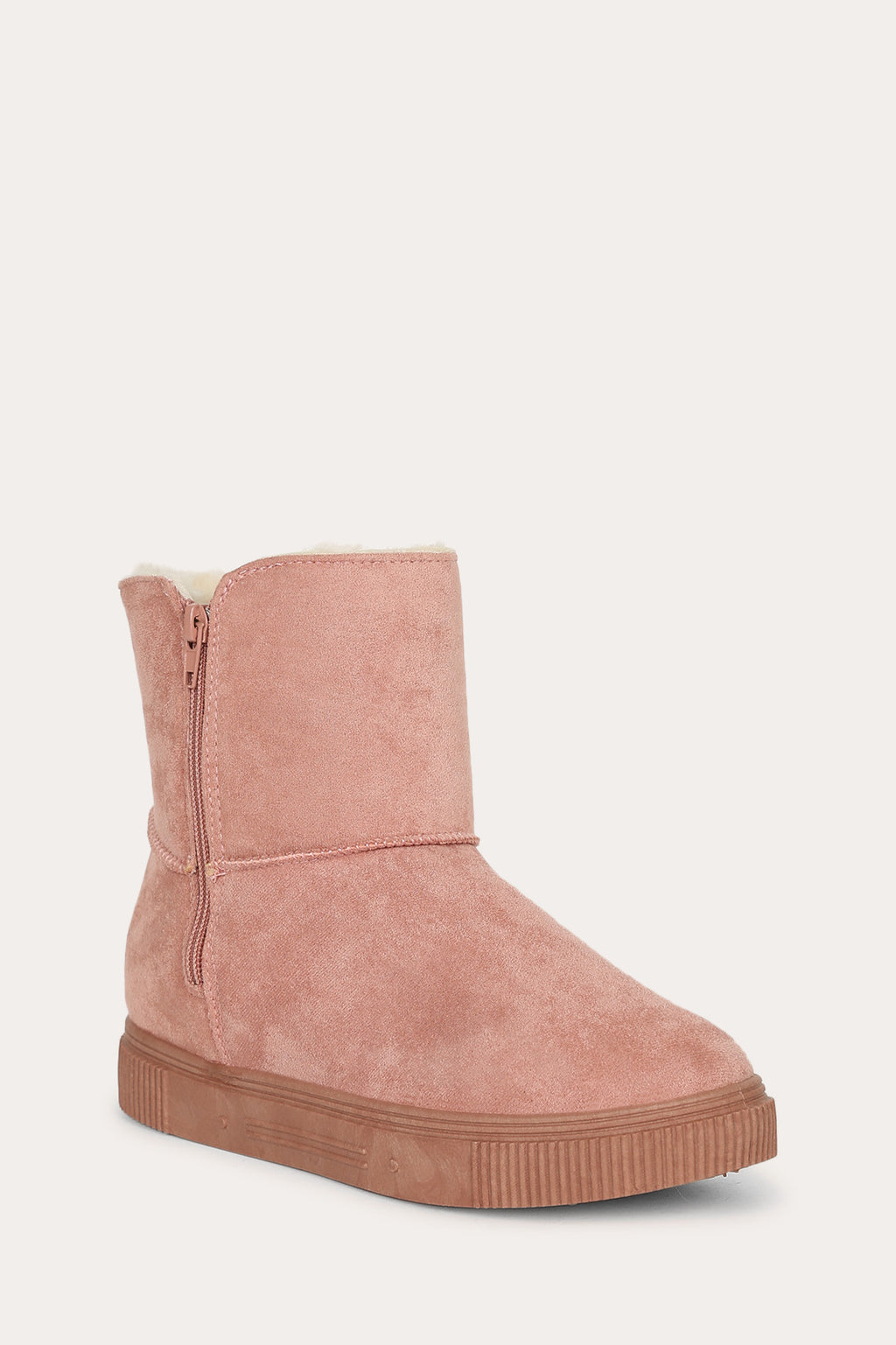 Bamboo Cozette-04 Pink Short Boot with Fur Inside