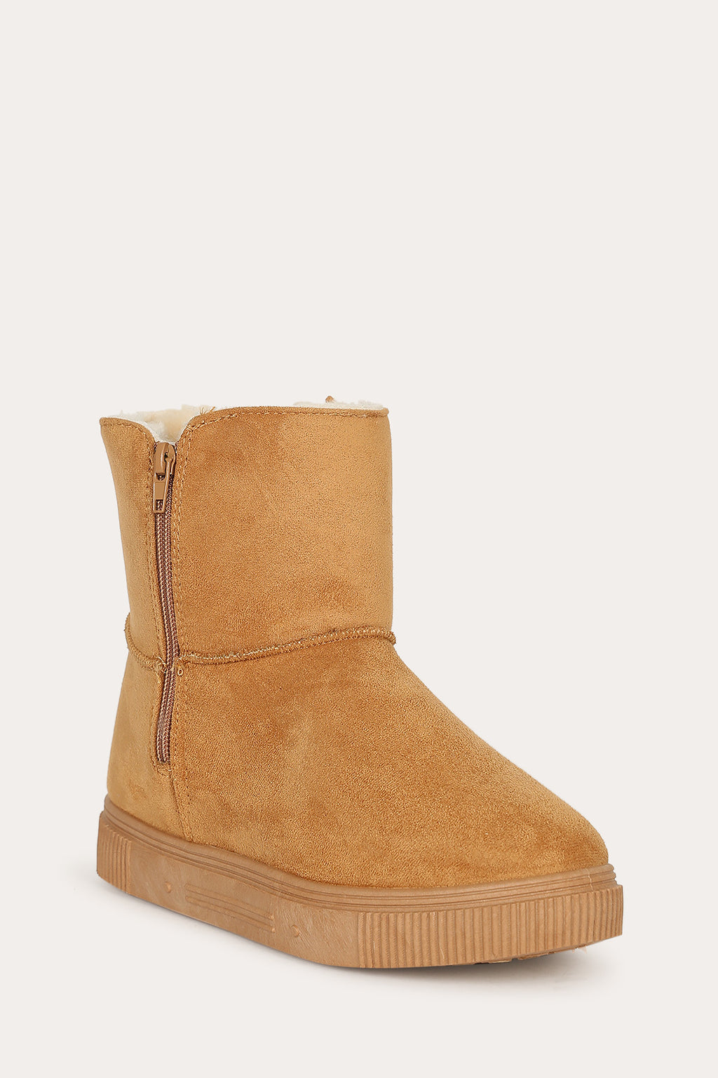 Bamboo Cozette-04 Tan Short Boot with Fur Inside