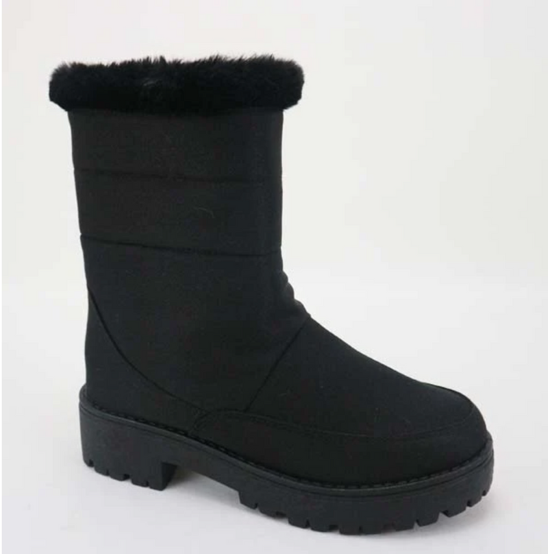 Bamboo Wildone-33 Black Mid Calf Snow Boots