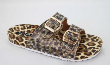 Bamboo Defeat-64 Leopard Multi Double Buckle Open Toe Sandal