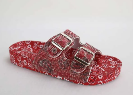 Bamboo Defeat-64 Red Bandana Double Buckle Open Toe Sandal