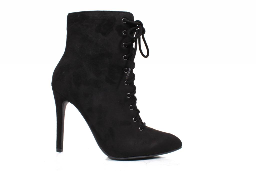 Delicious Stain-s Black Suede Lace up Bootie
