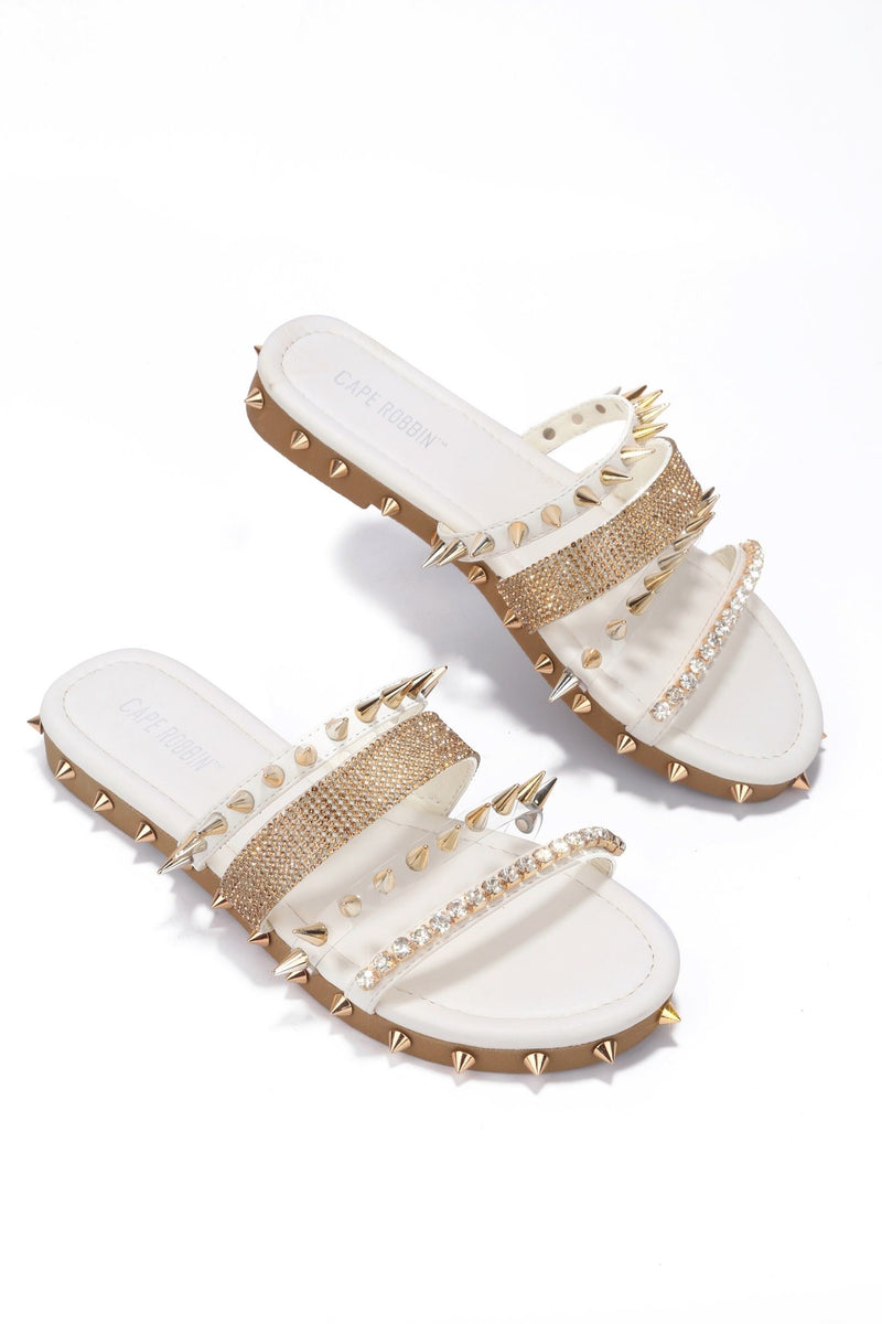 Cape Robbin XTreme White 4 Strap Spiked and Rhinestone Sandal