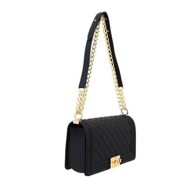 Liliana H-Jellica Black Silicone Cross body with Gold Detailing