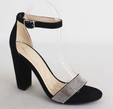 Bamboo Frenzy-54s Black Open Toe Block Heel w/ Ankle Strap