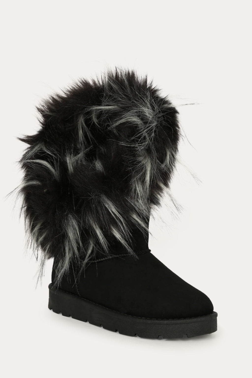 Bamboo Frozen-01 Black Round Toe Asymmetrical Fur Boots