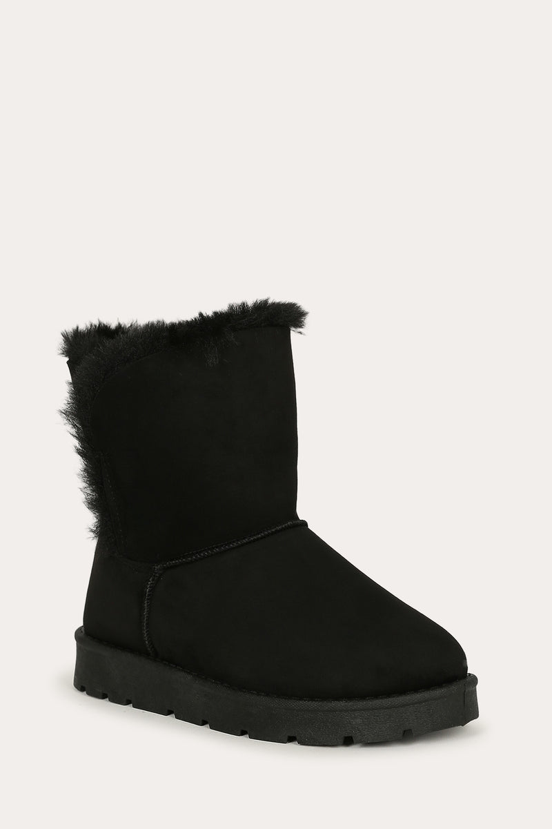 Bamboo Frozen-23 Black Short Boot Lined With Fur