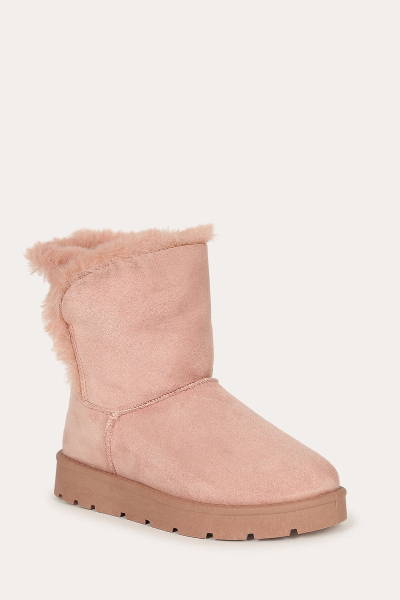 Bamboo Frozen-23 Desert Rose Short Boot Lined With Fur
