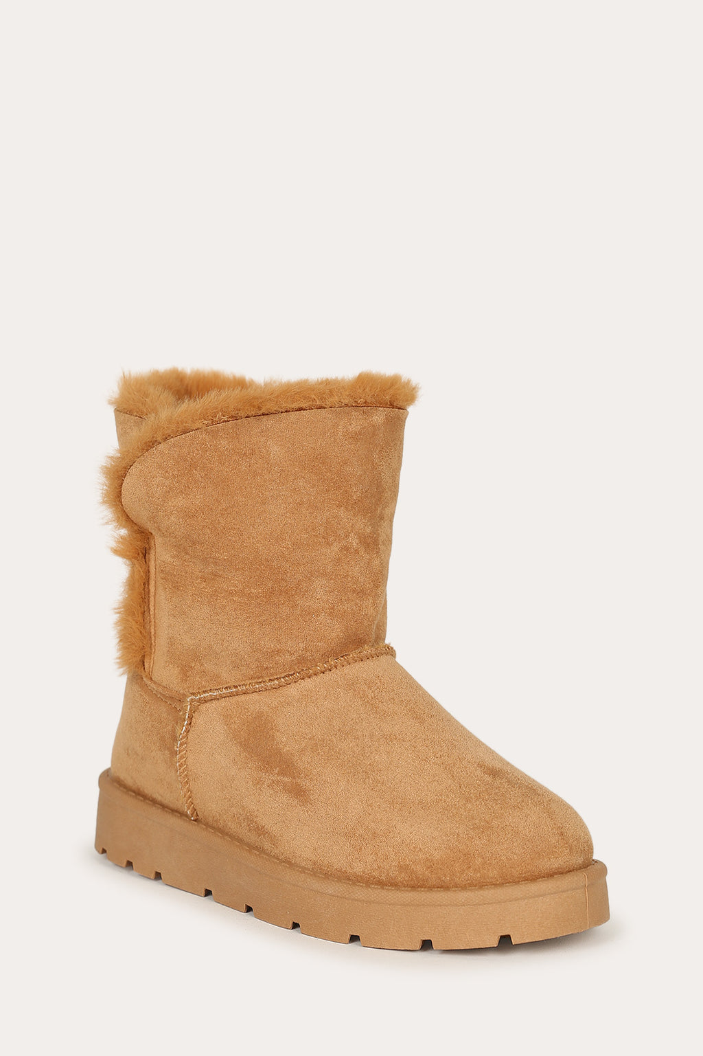 Bamboo Frozen-23 Tan Short Boot Lined With Fur