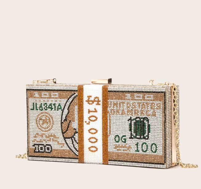 Gold Rhinestone Money Clutch With Gold Chain Strap