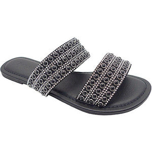 Wild Diva Tanaya-285 Black Sandal With Rhinestone Upper
