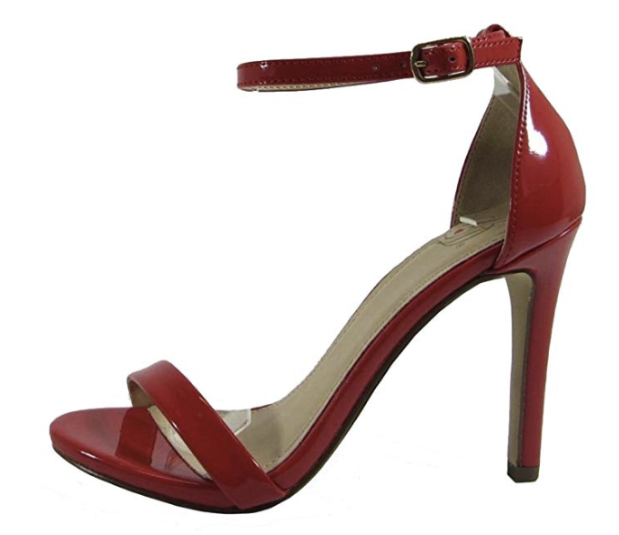 Delicious Jaiden-s Red Pat One Strap Heel.