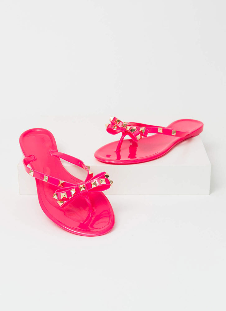 Wild Diva Joanie-172 Neon Pink Jelly Studded Bow Flip Flop