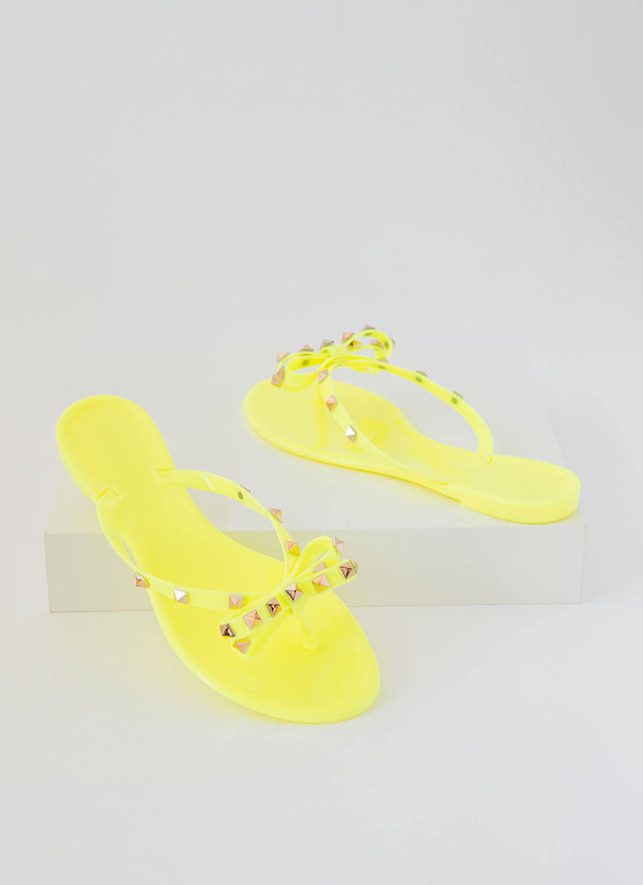 Wild Diva Joanie-172 Neon Yellow Jelly Studded Bow Flip Flop