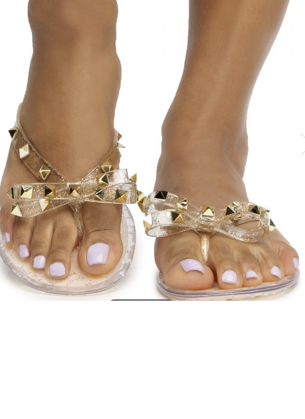 Wild Diva Joanie-173A Nude Lace With A Studded Bow Flip Flops