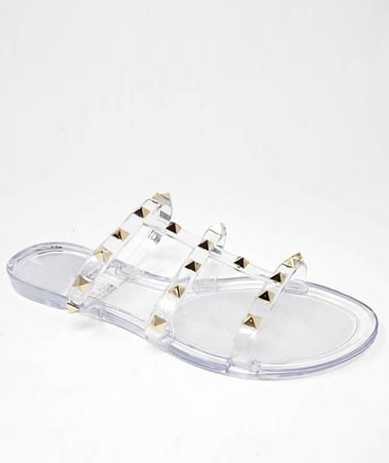 Wild Diva Joanie-228 Clear 3 Strap Caged Sandal With Pointed Studs