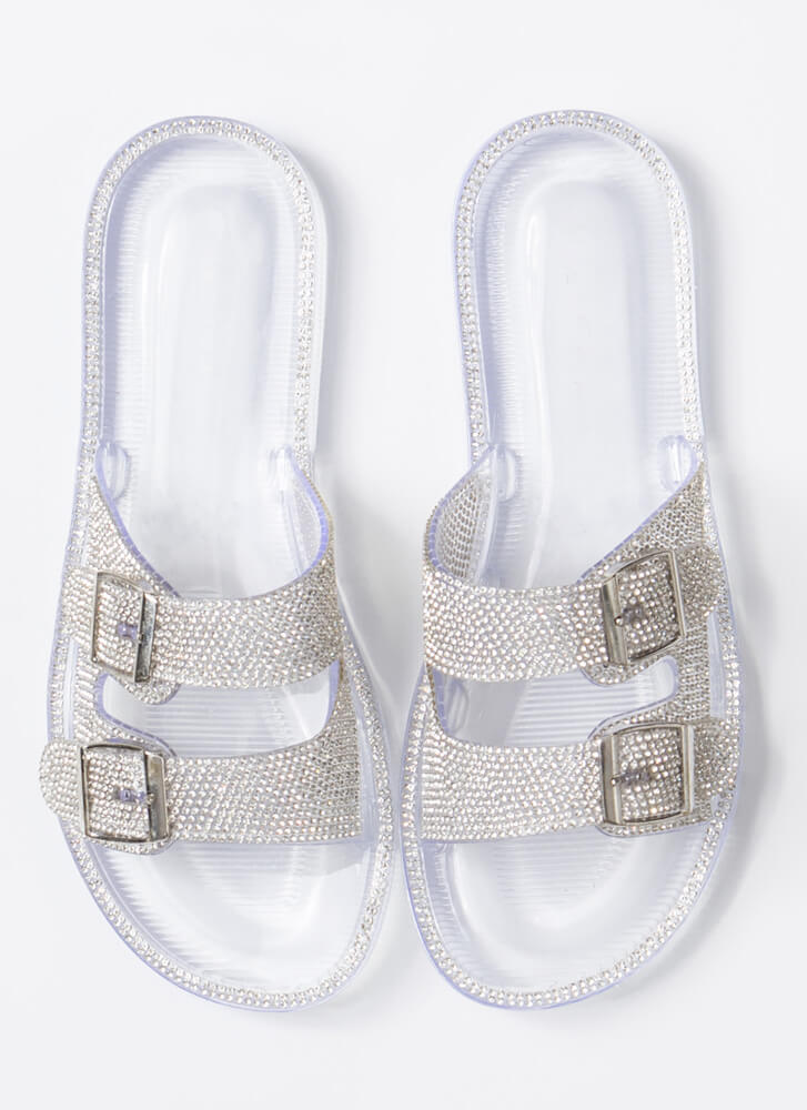 Wild Diva Joanna-02 Clear Double Strap Sandals With Rhinestones