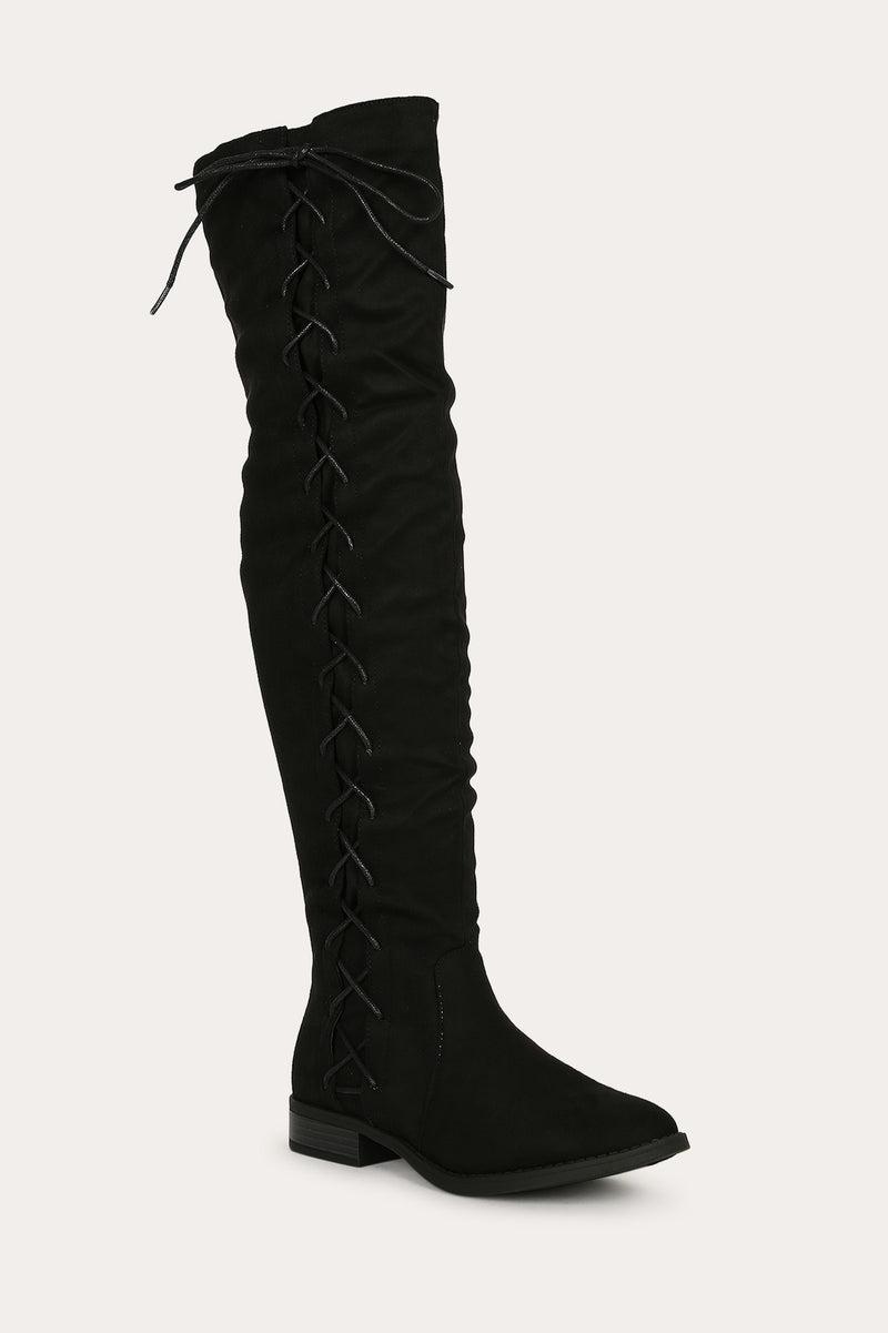 Bella Marie Krysten-10 Black Side Lace up Boot
